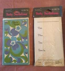 Vintage Two 10 Packs Buzza Cardozo Party Invitations Blue Floral