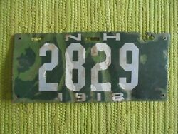 1918 New Hampshire Porcelain License Plate 18 Nh Tag 2829