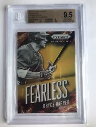 2014 Panini Prizm Bryce Harper Fearless Gold Prizm 10 Refractor SSP BGS 9.5