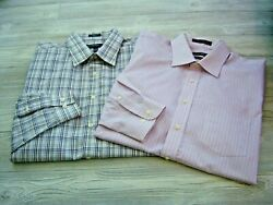 Lot Of 2 Men's Dress Shirts Forsyth Of Canada, Perry Ellis - 17-1/2 34/35 Nice