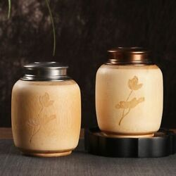 Bamboo Tea Jars With Copper Lid Spices Coffee Food Can Bottles For Home Storages