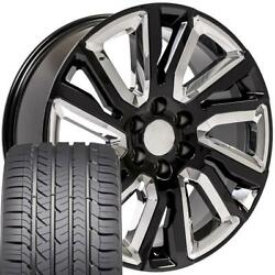 Oew 22x9 Wheels And Tires Fit Chevy Gm High Country Black W/chrome Gy