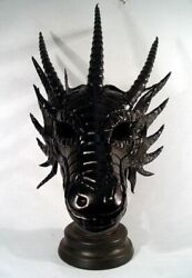 Large Handmade Leather Dragon Mask Created By Bob Basset Studio - One Of A Kind