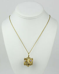 Vintage Etruscan Revival 18k Yellow Gold And Opal Keepsake Box Pendant Necklace