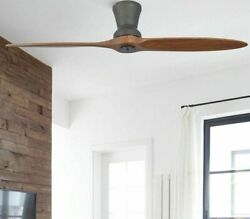 Industrial Wooden Ceiling Fan With Led Dimming Light Hub-mounted Rotating Blades