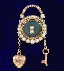 Antique Sentimental 9ct Gold And Pearl Memorial Pendant / Locket Key To My Heart