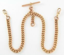 Antique 9ct Rose Gold Curb Link Double Albert Watch Chain Chester C 1916 61.1g
