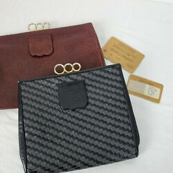 Vintage FENDI Auth Lot 2 Suede Small Leather Clutches 1 Burgundy 1 Black $82.67