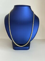 14k Yellow Gold 3mm Men Women Rope Chain Size 24 Inch Solid Gold 24.2g