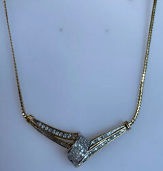 14k Gold And 1.50 Ct Diamond Chain Necklace Ladies Women Teen 17 3/4and039and039 Inch
