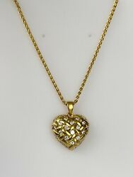 18k Solid Yellow Gold And 0.75ct Diamond Heart Chain Necklace Ladies Women Teen