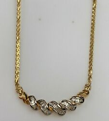 14k Gold And1.00 Ct Diamond Baguette Chain Necklace Ladies Women Teen 18andrdquo Inch