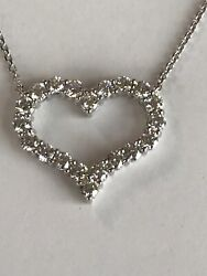 14k White Gold And 2.45 Ct Diamond Heart Necklace Ladies Women Teen