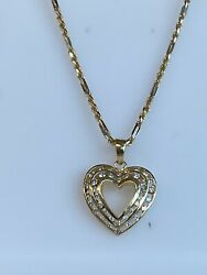 14k Gold And 1.25 Ct Diamond Heart Necklace W/ Rope Chain Ladies Women Teen 18andrdquo In