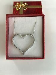 14k White Gold And 2.12 Ct Big Diamond Heart Necklace Ladies Women Teen