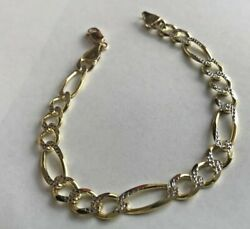 14k 2 Tone Gold Menand039s 8mm Figaro Bracelet 9 1/4 Inches