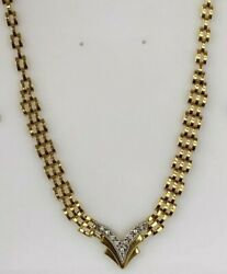 14k Yellow Gold And 0.35ct Diamond V Necklace Ladies Women Teen 18and039and039 Inch