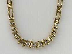 14k Yellow Gold And 0.70ct Diamond Chain Necklace Ladies Women Teen 16and039and039 Inch