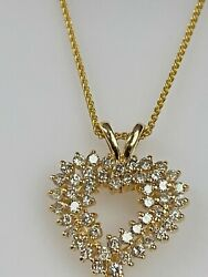 14k Yellow Gold And 2.00 Ct.diamond Heart Necklace Ladies Women Teen Make Offer