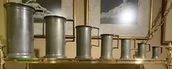 Antique 1800's French Pewter Measuring Cups, Tankards