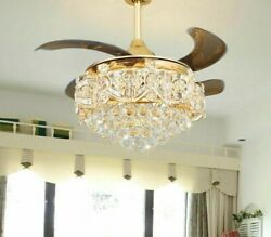 Fashionable Crystal Ceiling Fan Home Luxury Exquisite Design Flower Shape Bottom