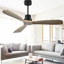 Wooden Ceiling Fan Nordic Retro Design 3 Blade Wing Applicable Space For Bedroom