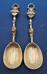 English Pair Of Silverplated Berry Spoons, Lion And Deer Figural Vintage