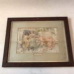 Vintage Painting Print A Lullaby' Antique Wooden Frame Oak Wall Art 22x17