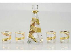 Whiskey Set Drilling Gilded Crystal Decanter Glass 700ml 300ml 4pcs Russian S...