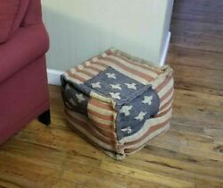 Burlap Americana Country Foot Stool Primitive French Country Ottoman Square Pouf