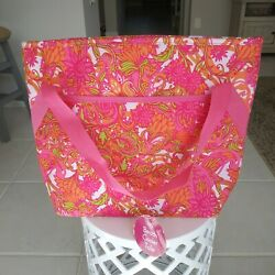 NWT Beach Cooler Floral Tote Bag by Ion Insulated Pink Coral large Vacation $19.99