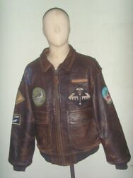 Avirex G-1 Flight Leather Jacket Patched Blood Chit In Back Sz M