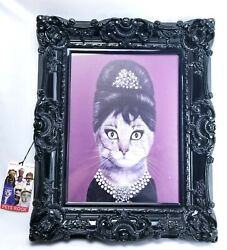 Discontinued Framed Pets Rock Canvas Glass With Tags 18 X 22 Breakfast Cat