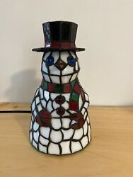 Meyda Lighting Frosty The Snowman Style Stained Glass 8.5 Accent Lamp