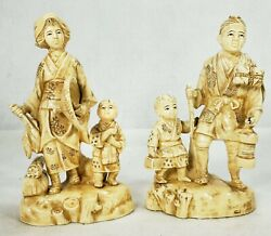 Antique Japanese Porcelain Pair Of Figurines Made To Resemble Carvings