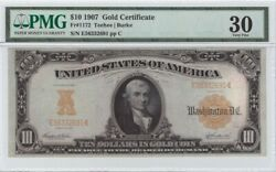 1907 Ten Dollars In Gold Coin Gold Certificate Large Note Paper Money Guarantee