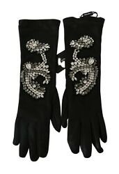 Dolce And Gabbana Gloves Black Leather Lamb Skin Crystal S. 6.5 / Xs Rrp 2800