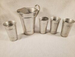 Vintage Gailstyn Hammered Aluminum Pitcher 2 Quart Ice Lip And Tumblers