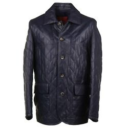 Isaia Navy Blue Diamond Quilted Nappa Leather Utility Jacket M Eu 50 Nwt 4995