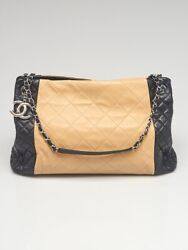 Beige/black Quilted Lambskin Leather Cc Charm Tote Bag
