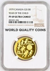 1979 Canada Gold Proof Coin 100 International Year Of The Child Ngc Pf69