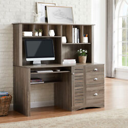 Computer Desk W/2 Drawer Letter File Cabinet 59 Writing Study Table Home Office
