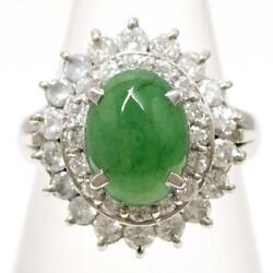 Jewelry Platinum 900 Ring 9 Size Jade 2.13 Diamond About8.2g Free Shipping Used