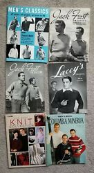 Vintage Knitting Pattern Books Lot Of 6, Many Men's Sweaters And Vests