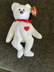 1993 Retired Ty Beanie Baby White Valentino Bear,tag Error, Brown Nose,mint Pvc