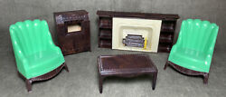 Vintage Plasco Green Wing Chairs Television Fireplace Table Dollhouse Furniture