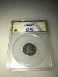 1827 Capped Bust Silver Dime 10c Anacs Vf 20 Details Scratched
