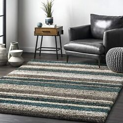 Nuloom Classie Hand Tufted Shag Area Rug 5and039 X 8and039 Blue Multi