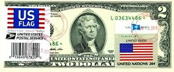 2 Dollars Star 2013 Stamp Cancel Postal Flag From Usa Lucky Money Value 500