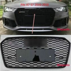 Rs7 Style For Audi A7 S7 2016-2018 Grille Honeycomb Grill Black W/camera Slot